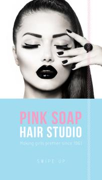 Hair Studio Offer with Girl in bright makeup