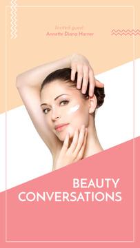 Woman applying Cream for cosmetics sale