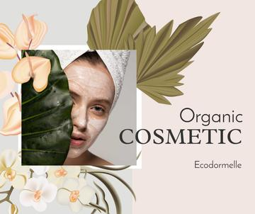 Organic Cosmetic Offer with Woman and leaves