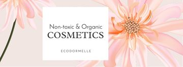 Organic Cosmetic Offer with Pink Flower