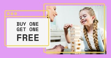 Game Offer with Mother and Daughter playing wooden tower
