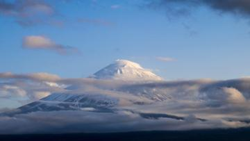 Snowy Mountain with clouds