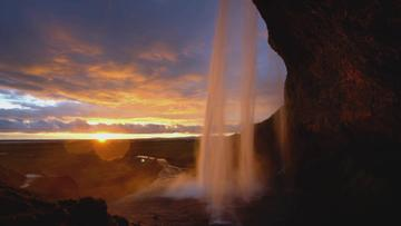 Waterfall with Majestic Sunset