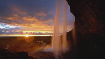 Waterfall with Majestic Sunset