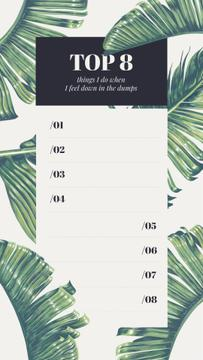 Wellness checklist on palm Leaves pattern
