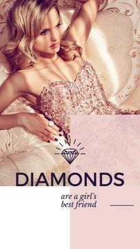 Jewelry Ad with Woman in shiny dress