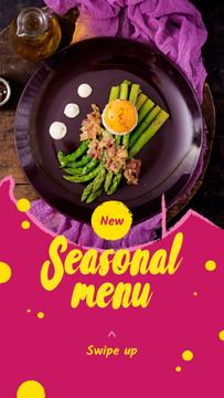 Seasonal Menu Ad with Asparagus and Egg
