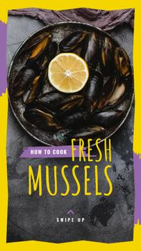 Fresh Mussels Recipe Ad with slice of Lemon