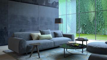 Modern Interior with Sofa in grey