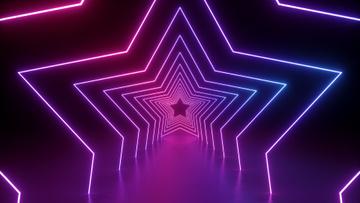 Glowing Neon Stars tunnel