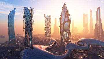 View of Futuristic City Buildings