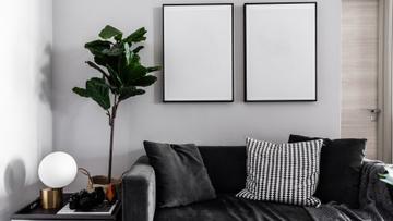 Modern Interior with Sofa in monochrome