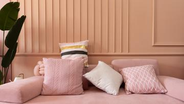 Pillows on Sofa in pink room