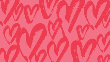 Red Hearts doodles pattern