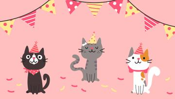 Cute Birthday Cats in caps
