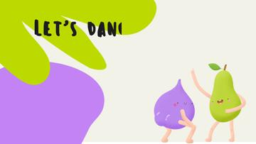 Funny bright dancing Pear and Plum