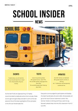 School News with Pupils on School Bus
