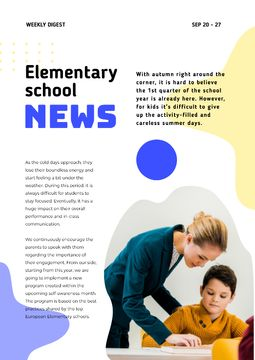 Elementary School News with Teacher and Pupil
