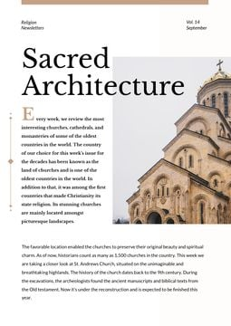 Sacred Architecture guide with Church facade