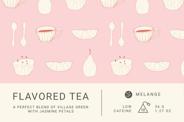 Tea packaging with cups pattern in pink