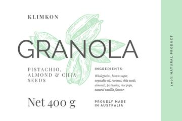 Granola packaging with nuts in green