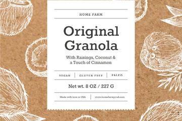 Granola packaging with coconuts in brown