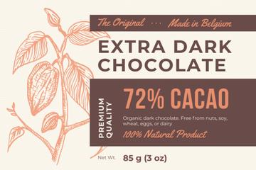 Dark Chocolate packaging with Cocoa beans