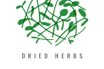 Dried herbs ad with Green leaves