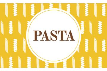 Pasta ad on yellow pattern