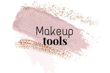 Makeup tools ad with pink smudges