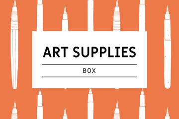 Art Supplies ad with pencils pattern