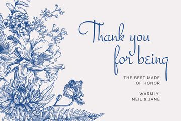 Wedding thank you on blue Flowers