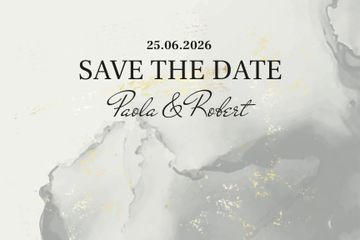 Wedding announcement on grey watercolor pattern