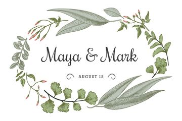 Wedding announcement in green Leaves frame
