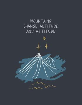 Inspirational Quote with Mountains illustration