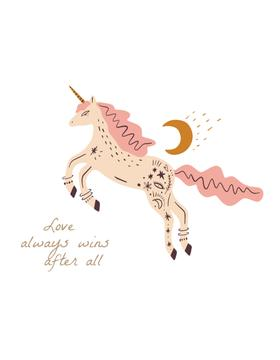 Cute Pink Unicorn with Quote