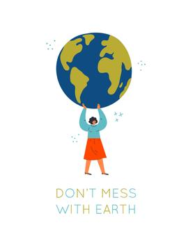 Woman holding Planet Earth