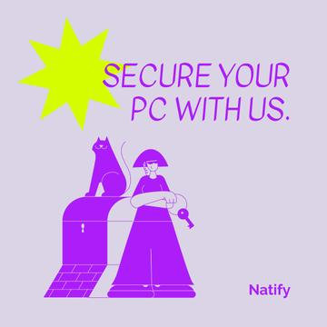 Security Software promotion with Woman and lock
