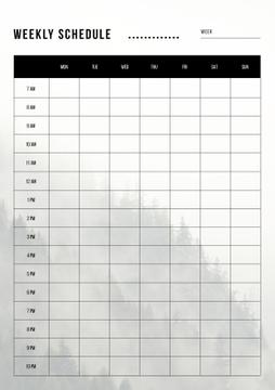 Weekly Schedule Planner on Foggy Mountain Forest
