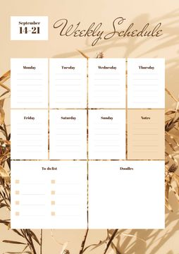 Weekly Schedule Planner on Golden Flowers