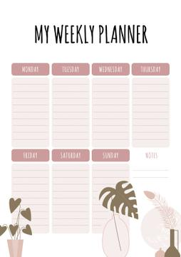 Weekly Planner with Flowers Pots