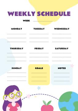 Weekly Schedule with Girl and Globe