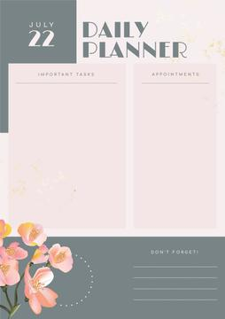 Daily Planner with Painted Flowers