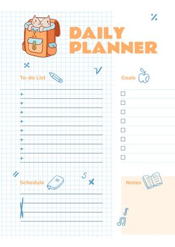 Daily Planner with Cute Cat in School Backpack