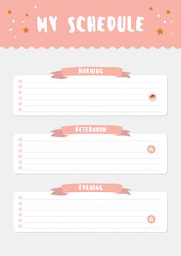 Pink Schedule Planner with Stars