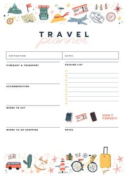 Travel Planner with Travelling icons