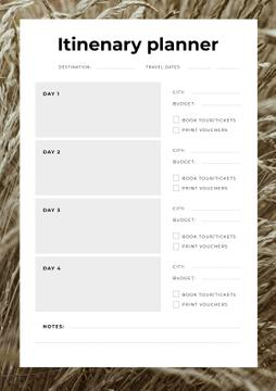 Itinerary Planner in Wheat Frame