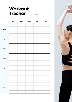Workout Tracker with Woman exercising
