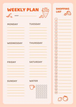 Weekly Meal Planner with Food Icons