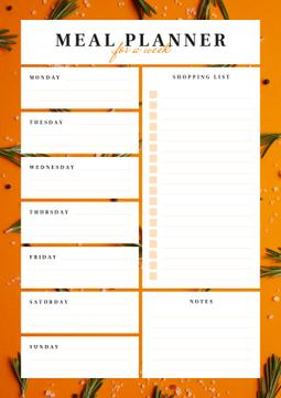 Weekly Meal Planner in Orange Frame